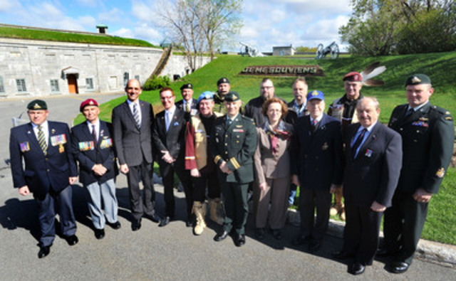 At the Citadelle in Québec City today, Minister of Veterans Affairs Steven Blaney announced an investment of $5 million for the construction of a permanent Visitor Centre at the Canadian National Vimy Memorial in France. Here he is joined by the Honourable Gilles Lamontagne and other Veterans. (CNW Group/Veterans Affairs Canada)
