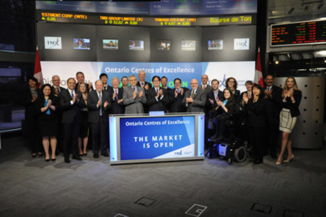 Tom Corr, President and CEO and Michael Nobrega, Board Chair, Ontario Centres of Excellence (OCE) joined Lou Eccleston, CEO, TMX Group to open the market to mark the 11th annual OCE Discovery Conference and Trade Show. Discovery is a leading innovation-to-commercialization conference, which attracts representatives from academia, government, research, and the investment community to showcase leading-edge technology, best practices, and research. The trade show will feature 'what's next' in clean tech, digital technology, advanced health and aerospace. OCE is a non-profit funded by the Ontario and the Federal government that works to accelerate innovation and help build a culture of entrepreneurship on university and college campuses.  For more information, please visit http://www.oce-ontario.org/ (CNW Group/TMX Group Limited)
