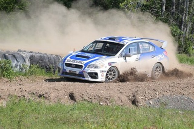 Subaru Rally Team Canada conquering the grueling stages at Rallye Baie Des Chaleurs. (c) Copyright 2015 Rocket Rally Racing - by Phil Ericksen. (CNW Group/Subaru Canada Inc.)