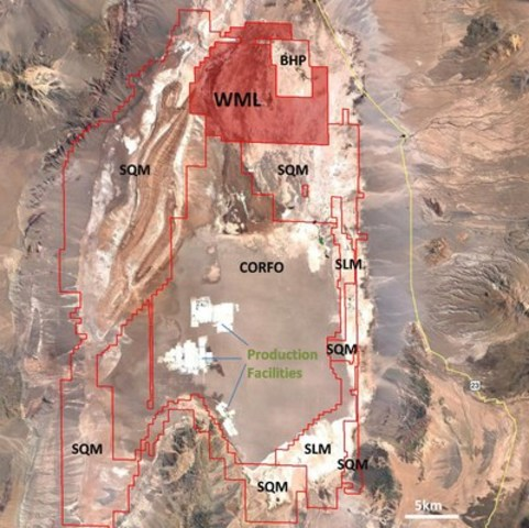 Figure 1: Wealth's newly acquired Atacama Project. SQM and Albemarle both produce lithium carbonate from ...