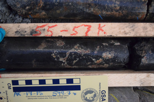 Figure 2: AR-14-15 - Massive to Semi-Massive Pitchblende Mineralization at 579.7 m (CNW Group/NexGen Energy Ltd.)