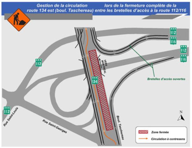 Gestion de la circulation lors de la fermeture de la route 134 est (boul. Taschereau) entre les bretelles d'accès à la route 112/116 (Groupe CNW/Ministère des Transports)