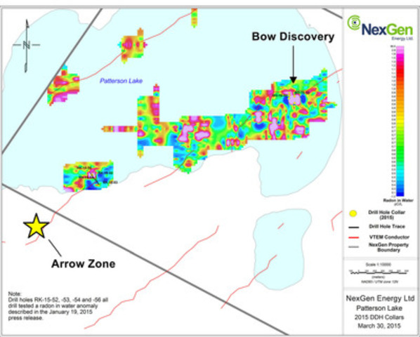 Figure 2: Northeast Patterson Lake Drill Holes and Radon Anomalies (CNW Group/NexGen Energy Ltd.)