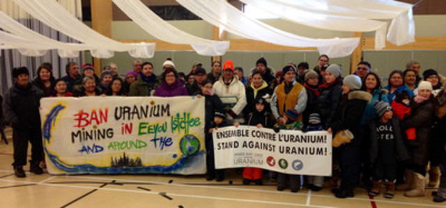 Cree walkers and their supporters prepare to leave from Mistissini for the StandAgainstUranium march. (CNW ...