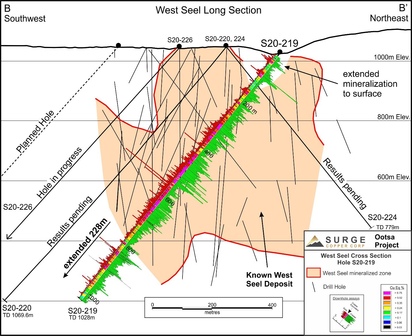 Figure 2: West Seel Long Section Showing Hole S20-219 (CNW Group/Surge Copper Corp.)