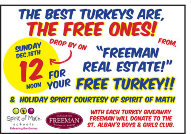 Freeman Realty Picks Up Where Honest Ed's Left Off: Gives Public Gift 500 FREE Turkeys 12/18 12 pm. elden@freemanrealty.com (CNW Group/Freeman Real Estate)