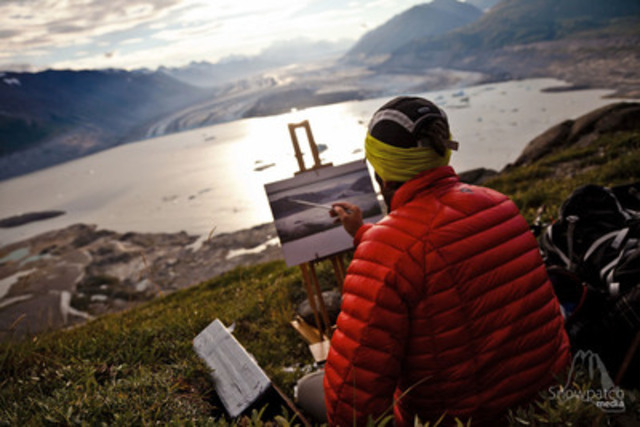 Cory Trépanier, Canadian artist and filmmaker, at work during his expedition in Kluane Natioanl Park and Reserve of Canada. (CNW Group/Parks Canada)