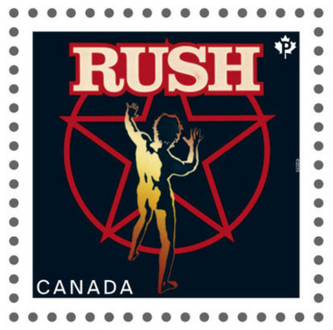 Canadian recording artist series stamp featuring RUSH (CNW Group/Canada Post)