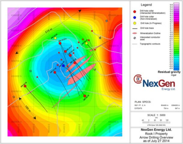 Figure 1: Arrow Discovery Drill Hole Locations (gravity background) (CNW Group/NexGen Energy Ltd.)
