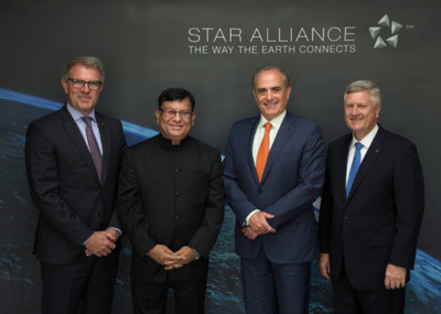Top management officials from Star Alliance commemorate the Alliance's decision to admit Air India as its 27th member airline: (l-r) Lufthansa CEO Carsten Spohr, Air India CMD Rohit Nandan, Air Canada CEO Calin Rovinescu and Star Alliance CEO Mark Schwab. (CNW Group/STAR ALLIANCE)