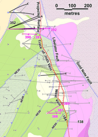 Figure 1: Location of 2014 drill holes at Yellowjacket.  Assays from the holes indicated in fuscia are reported  ...