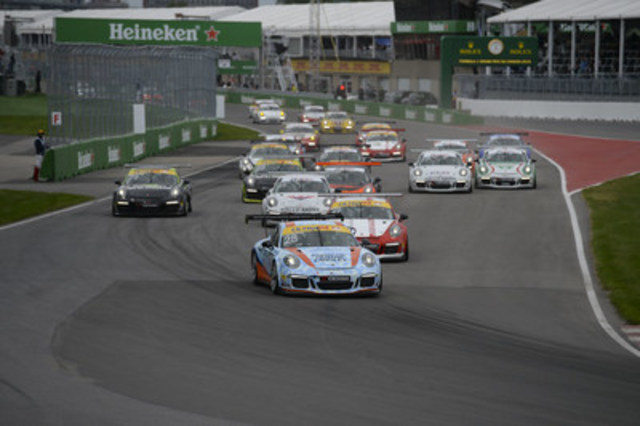 The field of cars competes during race number three of the 2016 Porsche GT3 Cup Challenge Canada by Yokohama at the Circuit Gilles-Villeneuve in Montreal on June 11, 2016. (CNW Group/Porsche Cars Canada)