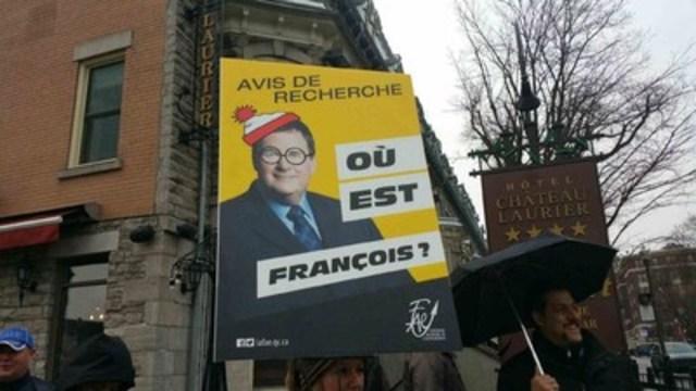Opération « Avis de recherche - Où est François Blais? » (Groupe CNW/Fédération autonome de l'enseignement (FAE))