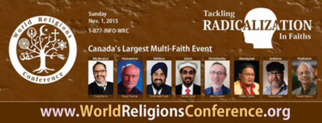 Tackling Radicalization in Faiths: 35th World Religions Conference - Canada's Largest Multi-faith event - Nov 1, 2015 (CNW Group/Ahmadiyya Muslim Jama`at - Kitchener-Waterloo Branch)