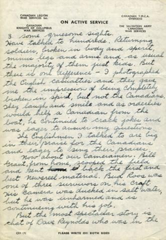 Lettre du sergent McCaughey, MCG 20140022-002_06-09-44_p1-4, Collection d'archives George-Metcalf, Musée canadien de la guerre. (Groupe CNW/Musée canadien de l'histoire)
