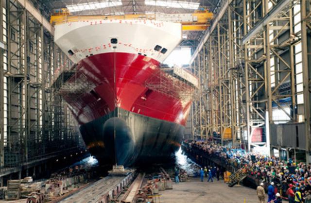L'Oceanex Connaigra, lancement de la construction navale Flensburger (Groupe CNW/OCEANEX INC.)