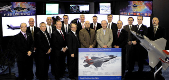 Canadian companies representatives recognized by Lockheed Martin for their participation in the F-35 program. Left to right: Peter Timeo, Dan Snyder, Michael Cybulski, Larry Glenesk, Tom Elias, Claude Baril, Jean Gravel, Gabe Batstone, Steve O'Bryan (Lockheed Martin), Kevin Russell, Mike Dorricott, Mark Van Rooij, Dave Mitchell, Doug Dubowski, Randy Joe, Scott McCrady (CNW Group/Lockheed Martin)