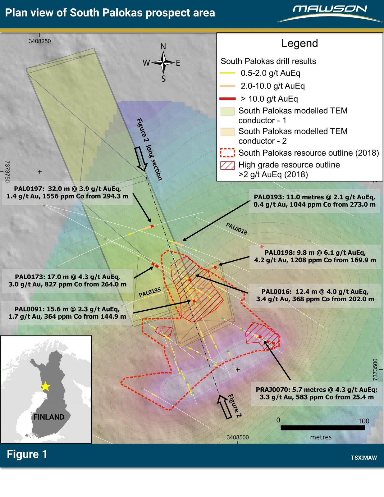 Figure 1: Plan of South Palokas prospect area indicating drill results, the outline of 43-101 resource, modelled ground TEM plates over Lidar background with superimposed mise-á-la-masse contours. For more detailed location information, refer to press release of April 23, 2019. Note that Figure 3 is essentially a view down onto the plane of the northwest dipping TEM conductors.