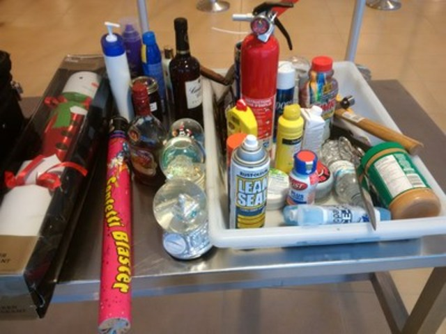 Intercepted items in carry-on baggage. (CNW Group/Canadian Air Transport Security Authority (CATSA))
