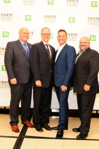 Left to right: Mr. Éric Pineault, President of the Montréal Pride Celebrations, Mr. Drew Wawin, District Vice President, South Shore, TD Canada Trust, Mr. Jasmin Roy, spokesperson, and Jean-Sébastien Boudreault, Vice President of the Montréal Pride Celebrations. (CNW Group/Montréal Pride Celebrations)