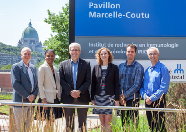 Researchers from the Institute of Research in Immunology and Cancer (IRIC) of the Université de Montréal were proud to greet on July 27th, the Honourable Marc Garneau, Minister of Transport and Member of Parliament for NDG/Westmount. Mr. Garneau, being a passionate scientist, responded to the invitation of researchers from his riding and took the opportunity to visit some laboratories and scientific platforms. Researchers also discussed of the advancement of research in cancer treatments but also the importance of fundamental research and issues pertaining to its financing. From left to right, the Minister is surrounded by Michel Bouvier, IRIC's Chief Executive Officer, Nadine Beauger, Chief Executive Officer of IRICoR (The Centre for Commercialization of Research), Caroline Gravel, Assistant to the Director, Rector's Office and of the Government Relations of the Université de Montréal,  Vincent Archambault, Principal Investigator and Marc Therrien, Scientific Director, both of IRIC. (CNW Group/Institut de recherche en immunologie et en cancérologie de l'Université de Montréal)