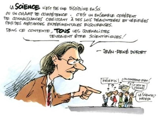 Jean-René Dufort se prononce sur l'importance du journalisme scientifique dans le cadre de la campagne #100LaScience (Groupe CNW/Agence Science-Presse)