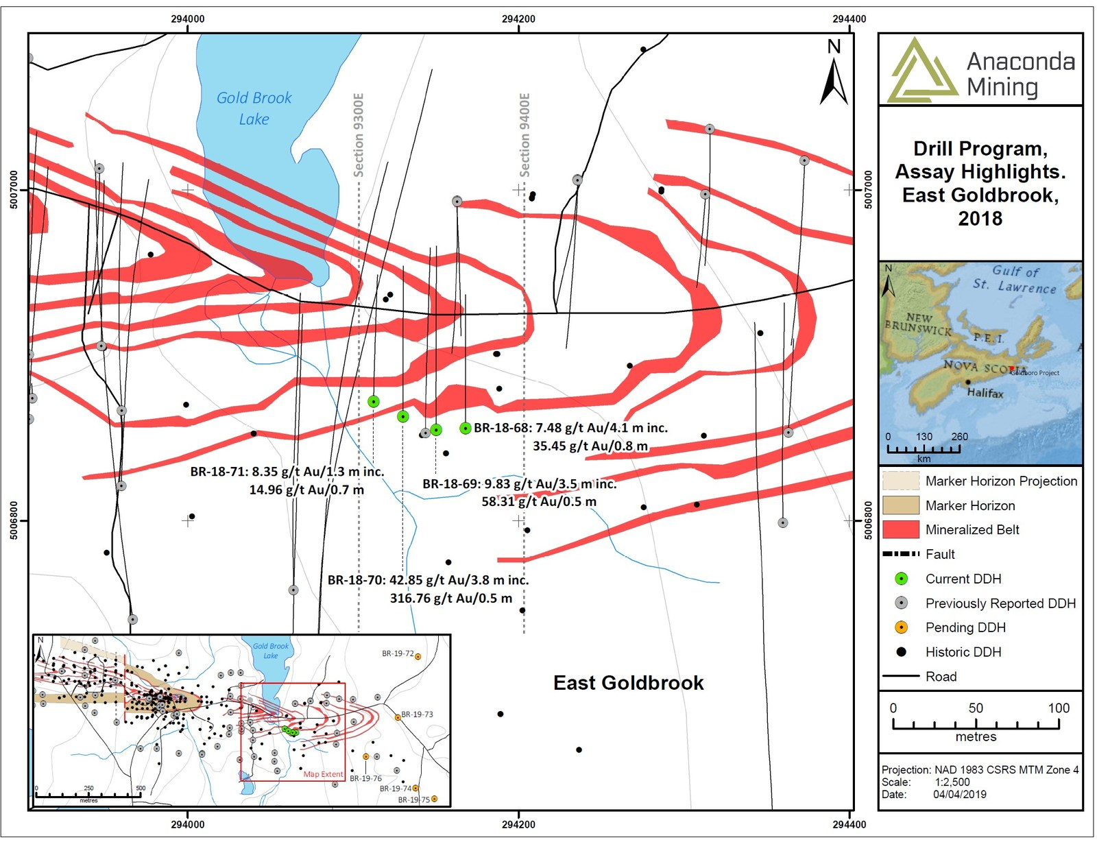 Exhibit A. A map showing the location of drill holes completed as part of the Metallurgical Drill Program and drilled along an 80-metre strike between cross sections 9300E and 9400E.