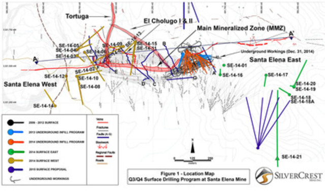 Figure 1 - Drillhole Map with underground. (CNW Group/SilverCrest Mines Inc.)