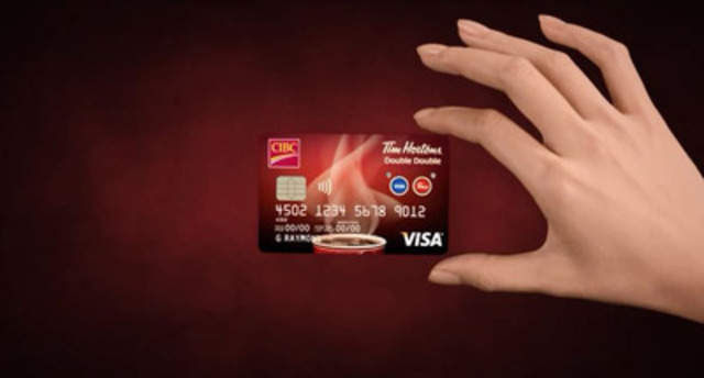 The new CIBC Tim Hortons Double Double Visa Card leverages a first-of-its-kind technology with lighted buttons to select between a no annual fee CIBC Visa card and a rewards Tim Card, all in one convenient card.