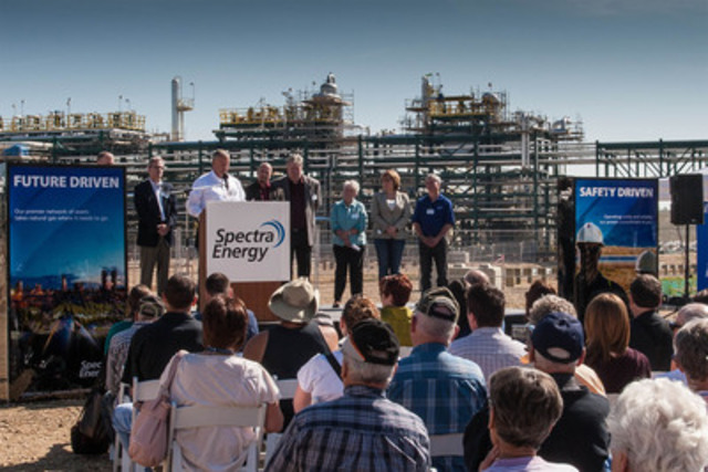 Doug Bloom, President, Spectra Energy Transmission West at the Official Grand Opening of the Dawson Processing Plant speaks about Spectra Energy's commitment to investing in B.C. and the benefits natural gas brings to the province of B.C. (CNW Group/Spectra Energy Corp.)