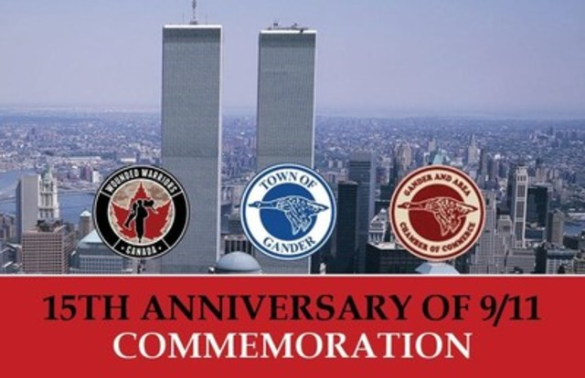 Town of Gander, Newfoundland and Wounded Warriors Canada to Host 15th Anniversary of 9/11 Commemoration. (CNW Group/Wounded Warriors Canada)