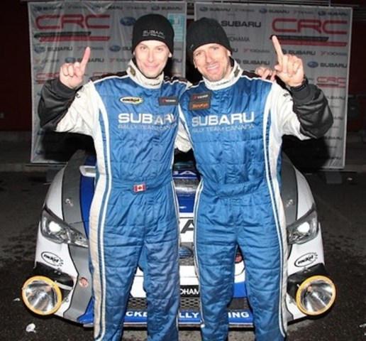 Subaru Rally Team Canada wins the 2015 Pacific Forest Rally in their Rocket Rally-prepared Subaru WRX STI. © 2015 Rocket Rally Racing by Philip Ericksen/Radikal Videos. (CNW Group/Subaru Canada Inc.)