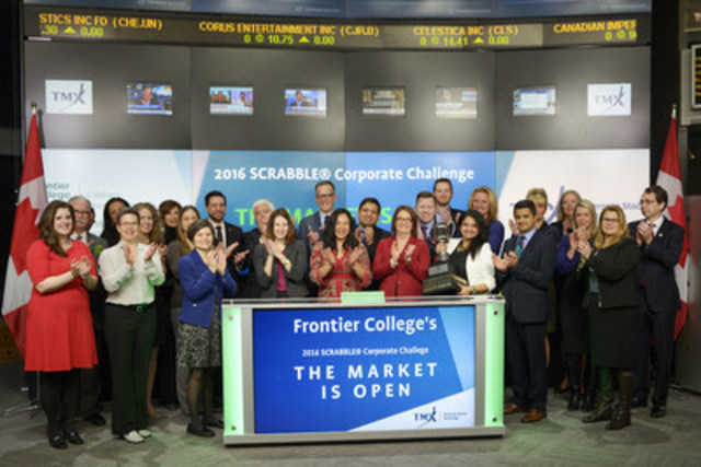 Sarah Thompson, Acting Co-President and Co-CEO, Frontier College, and CIBC, the winners of Frontier College's 2016 SCRABBLE® Corporate Challenge joined Eric Sinclair, President, TMX Datalinx and Group Head of Information Services, TMX Group to open the market. Since 2005, the annual Scrabble Corporate Challenge, presented by TMX, has raised close to $3 million for Frontier College literacy programs. On March 2, 2016 CIBC played against over 250 participants from law firms, investment firms, financial institutions and blue chip corporations to win the TMX Cup. (CNW Group/TMX Group Limited)