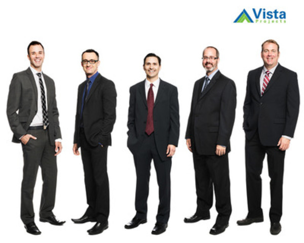 From left to right: Chad Radke, Mark Stirling, Erwin Vargas, Jason Pelly and Rick Garrett joined Vista Projects' shareholder team in Sept 2014. (CNW Group/Vista Projects Limited)