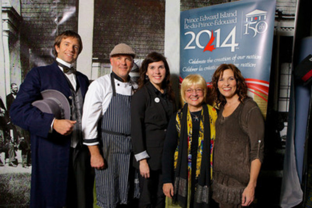 Internationally renowned recording artist and proud-Islander, Angele Arsenault, is joined by (from left to right) Mathieu Arsenault (representing a Father of Confederation), Island Chef Robert Pendergast, PEI 2014 Inc. Executive Director, Penny Walsh-McGuire, and Island Roadshow performer, Patricia Richard, in Montreal for the unveiling of the official PEI 2014 Celebration Calendar for the 150th anniversary of the Charlottetown Conference. (Photo Credit: Michel Pinault) (CNW Group/Prince Edward Island 2014 Inc.)