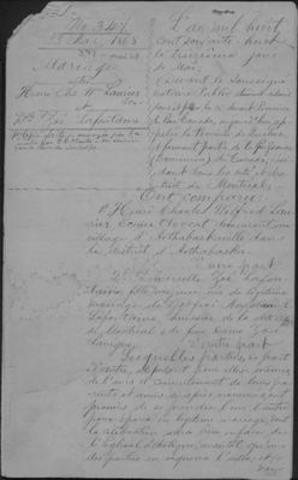 Contrat de mariage d'Henri Charles Wilfrid Laurier et de Zoé Lafontaine, 13 mai 1868. Collections de Bibliothèque et Archives nationales du Québec (Groupe CNW/Bibliothèque et Archives nationales du Québec)