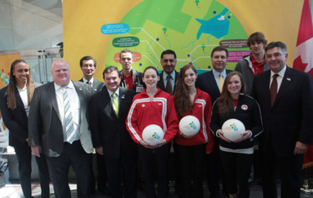 TO2015 announces new Games footprint for the Toronto 2015 Pan Am Games alongside the Government of Canada, Province of Ontario, City of Toronto and athletes. Left to right: Charmaine Crooks, Mayor Rob Ford, the Honourable Michael Chan, the Honourable Jim Flaherty, Jesse Wilcox (boxing athlete), Clare McGovern (synchronized swimming athlete), the Honourable Bal Gosal, Caroline Marshall (synchronized swimming athlete), Ian Troop (TO2015), Rosie MacLellan (gymnast), Aaron Doornekamp (basketball athlete) and the Honourable Charles Sousa. (CNW Group/Toronto 2015 Pan/Parapan American Games)