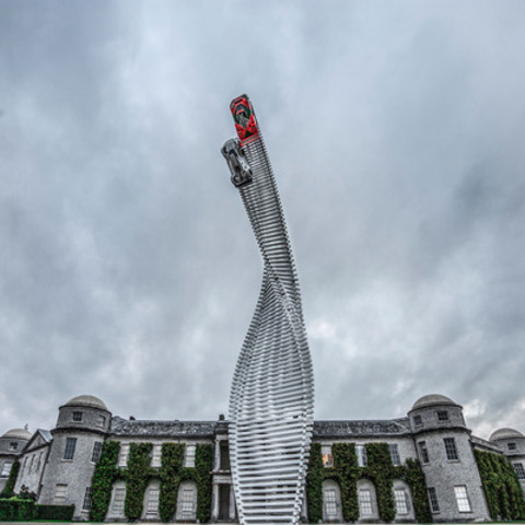 The central feature of this year's Goodwood Festival of Speed is a 40-metre high sculpture featuring two Mazda racers bursting into the sky on a twisting track of steel beams. (CNW Group/Mazda Canada Inc.)