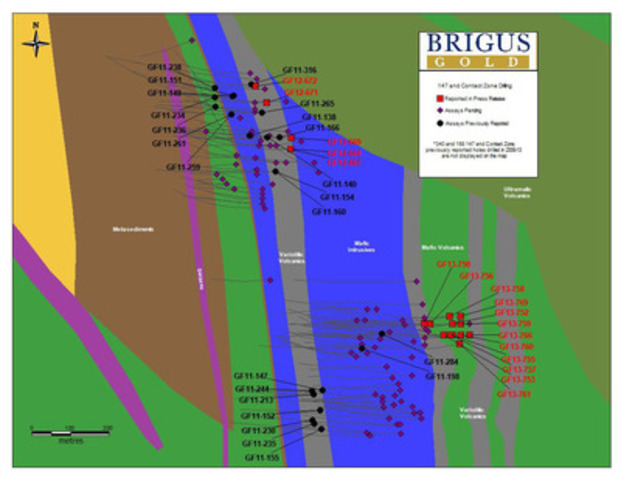 Appendix 3: 147 Zone and Contact Zone drill-hole location plan map with geology (CNW Group/Brigus Gold Corp.)