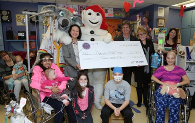 Bonhomme Carnaval visits the Centre mère-enfant of the CHU de Québec thanks to TELUS (CNW Group/TELUS Corporation)