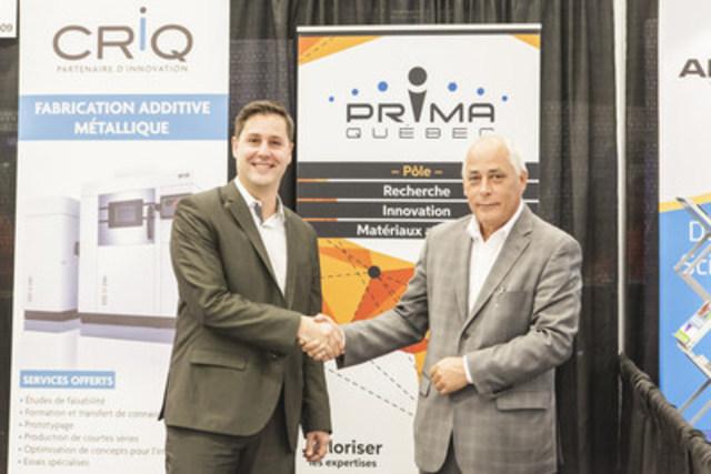 Benoît Balmana, président-directeur général de PRIMA QUÉBEC, et Denis Hardy, président-directeur général du CRIQ (Groupe CNW/Centre de recherche industrielle du Québec)