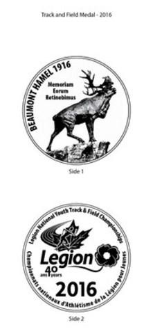 La Légion dévoile de nouvelles médailles pour ses Championnats nationaux d'athlétisme pour jeunes (Groupe CNW/Légion royale canadienne)