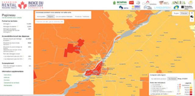 Le portail interactif géomatique croise des données à caractère économique et social, ce qui permet d'obtenir des informations claires et précises sur les questions d'accessibilité, de surpeuplement ou de coût excessif du logement locatif au Québec et au Canada. (Groupe CNW/Réseau québécois des OSBL d'habitation (RQOH))