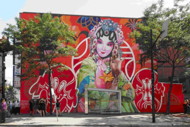May an Old Song Open a New World, murale produite par MU et réalisée par Gene Pendon et Bryan Beyung (crédits photo : Olivier Bousquet) (Groupe CNW/Ville de Montréal - Arrondissement de Ville-Marie)