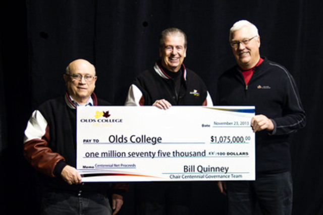 Olds College Centennial Surplus Cheque Presentation - Barry Mehr, Tom Thompson and Bill Quinney (CNW Group/Olds College)