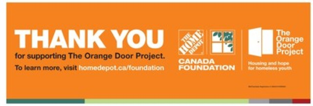 The Home Depot customers and associates make The Orange Door Project campaign a success; one step closer to eliminating youth homelessness - The Home Depot® Canada Foundation raises $1,253,370 for youth-serving charities across Canada (CNW Group/The Home Depot Canada)