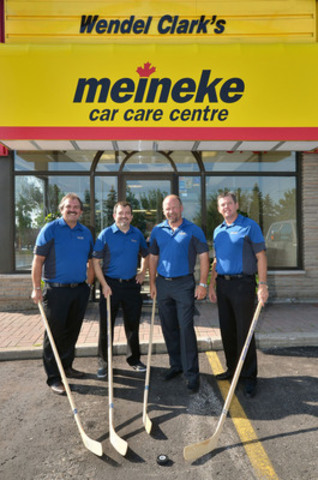 Meineke Canada Vice President and General Manager Duane Arbeau (at left) welcomed the newest Canadian franchisees to the Meineke team at the opening of the first of three-planned Wendel Clark Meineke Car Care Centres headed by the former Toronto Maple Leafs captain. Shown at 5767 Hwy. 7 in Vaughan, ON (l-r) Arbeau, franchisees Cam Campli, Clark and Andrew Jackson, president of Jackson Events. Photo by: Nicola Betts (CNW Group/Meineke Canada Car Care Center)