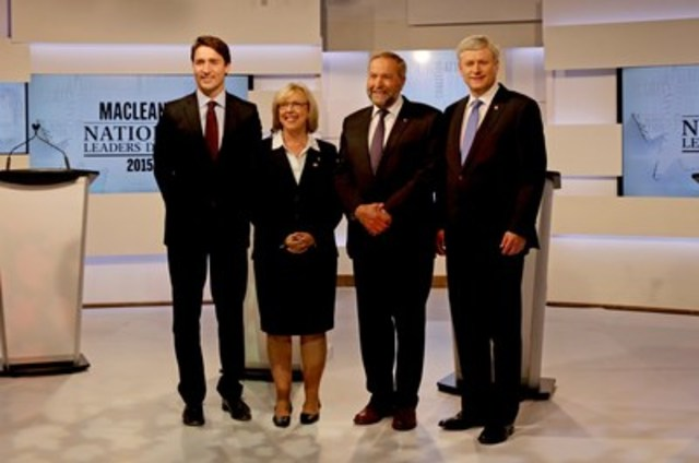 Justin Trudeau, leader of the Liberal Party of Canada; Elizabeth May, leader of the Green Party of Canada; Thomas Mulcair, leader of the New Democratic Party of Canada; and Stephen Harper, leader of the Conservative Party of Canada take part in the Maclean's National Leaders Debate at the City and OMNI Television studio in Toronto (CNW Group/Maclean's)