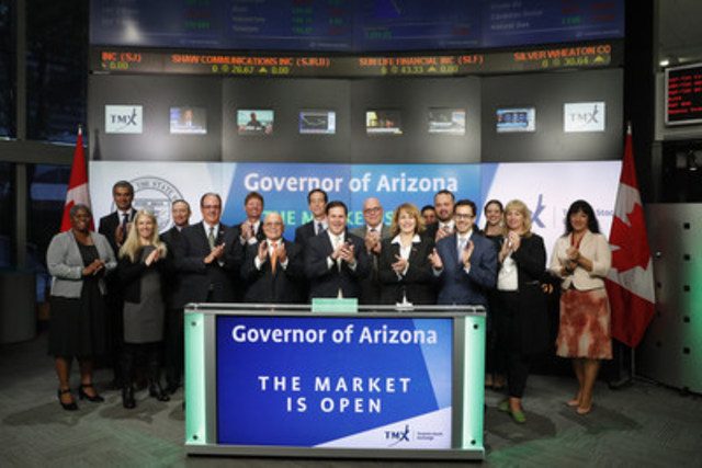 Governor Doug Ducey, from the State of Arizona joined Ungad Chadda, President, Capital Formation, Equity Capital Markets, TMX Group to open the market. Governor Ducey accompanied by Canadian Consul General James Villeneuve and the Honorary Consul of Canada for Arizona, R. Glenn Williamson, will lead a four-day Arizona economic development mission to Toronto and Montréal to meet with government officials and business leaders to highlight Arizona's business climate and lifestyle. The Governor delivered a keynote address to the Canadian Club of Toronto on Wednesday, October 5, 2016. (CNW Group/TMX Group Limited)