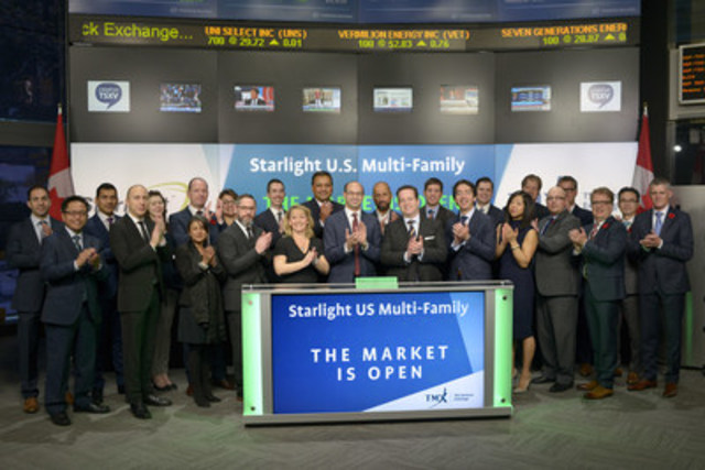 Daniel Drimmer, Chief Executive Officer, Starlight Investments Ltd., joined Tim Babcock, Director, Listed Issuer Services, TSX Venture Exchange to open the market to launch Starlight U.S. Multi-Family (No. 5) Core Fund (SUA.A / SUA.U). Starlight U.S. Multi-Family (No. 5) Core Fund is a closed-end, TSX Venture Exchange listed entity, sponsored and asset-managed by Starlight Investments Ltd. SUA.A / SUA.U commenced trading on TSX Venture Exchange on October 16, 2016. (CNW Group/TMX Group Limited)